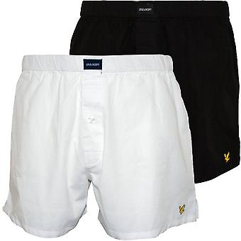 Lyle & Scott 2-Pack Woven Boxer Shorts, Black/White