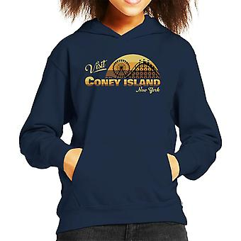 Visit Coney Island Retro New York Kid's Hooded Sweatshirt