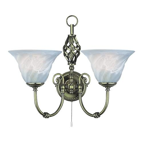Searchlight 972-2 Cameroon 2 Light Antique Brass Wall With Marble Glass