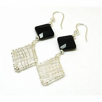 Inferno Sterling Silver and Black Onyx Mesh Drop Earrings