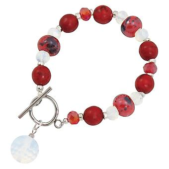 Eternal Collection Harmony Flame Red Howlite And Crystal Ceramic Beaded Bracelet