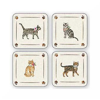 Cooksmart Cats On Parade Coasters, Set of 4