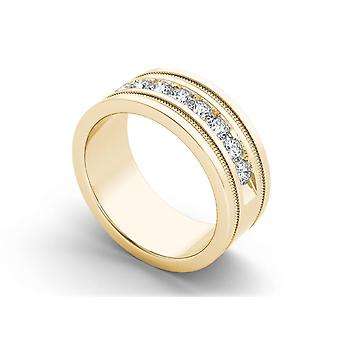 IGI Certified 14k Yellow Gold 1.00 Ct Natural Diamond Men's Wedding Band Ring