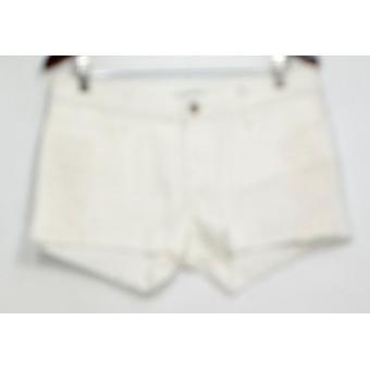 Blue Shorts Denim Zipper Closure w/ Lace & Fringe Detail White