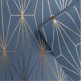 Blue Bronze Metallic Geometric Wallpaper Triangles Vinyl Embossed Muriva Kayla