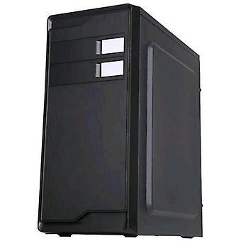 La cassa centrale della cassa heek con la scheda madre con la torre centrale supportata dall'alimentatore atx 500w includeva il colore nero
