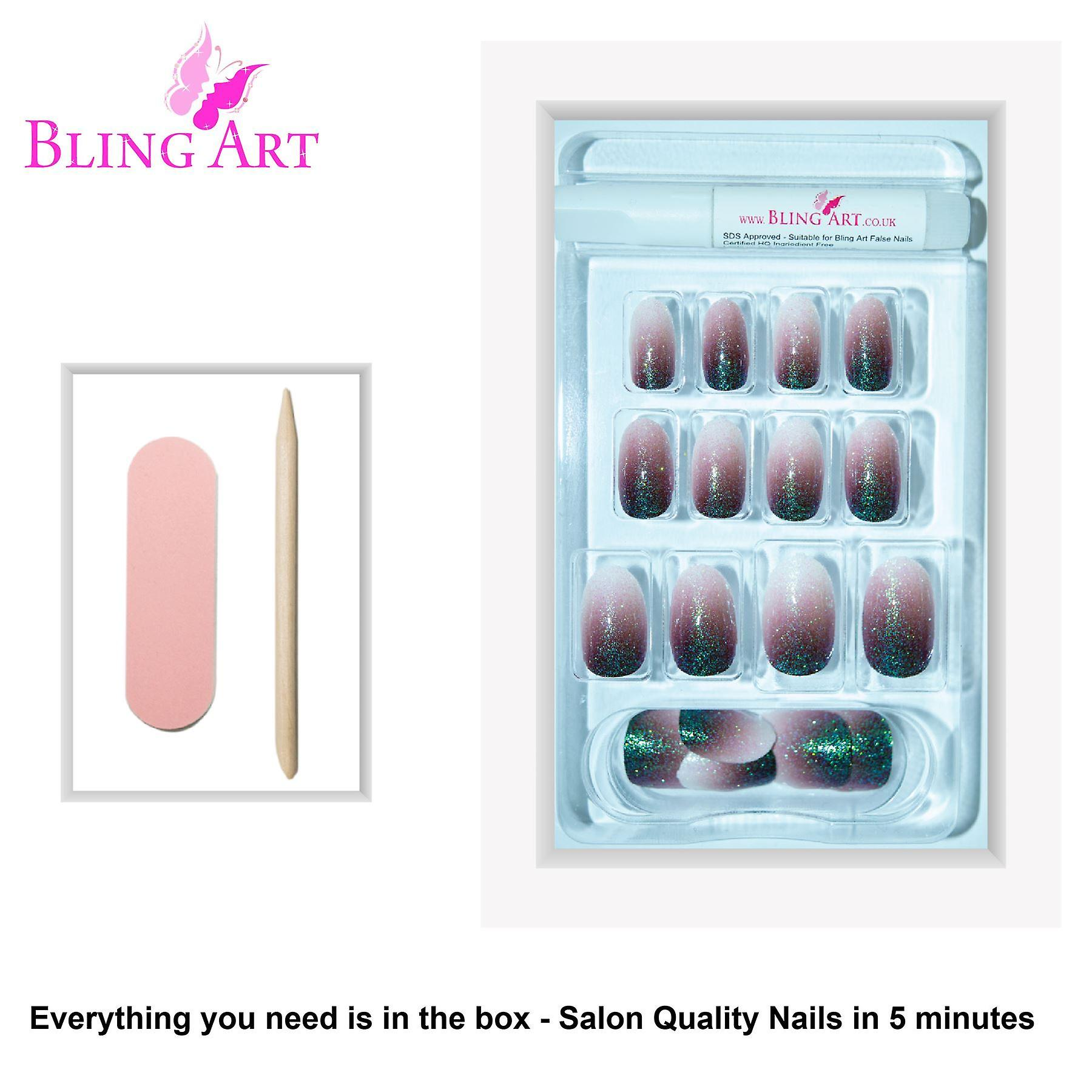 False nails by bling art red brown gel ombre oval medium fake acrylic 24 tips