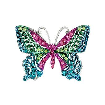 Eternal Collection Madame Multi Crystal Silver Tone Butterfly Brooch
