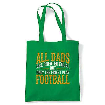 Finest Dads Play Football Sports Tote | Football Footy Kick About Around Match Game Ball | Reusable Shopping Cotton Canvas Long Handled Natural Shopper Eco-Friendly Fashion