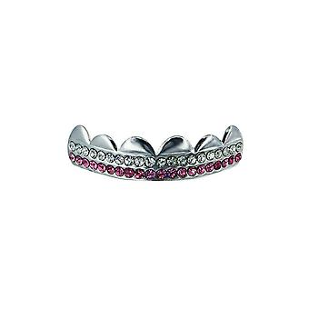 Grillz Silver Double Deck Pink N Clear Cz Diamonds [Top]