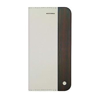 iPhone 6/6s Plus Case - 5.5 Inch Mode Wooden Saffiano Texture White Folio Hard Shell